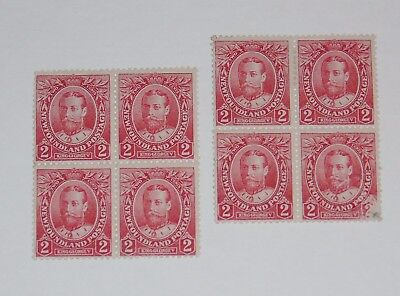 Stamp Pickers Newfoundland 1911 KGV Royal 2c Blocks Scott #105 x 7 MNH MH $35+