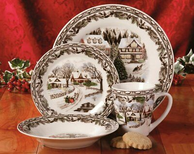 Christmas Holiday Toile 16 Piece Dinnerware Set Microwave and Dishwasher Safe & GIBSON HOME Christmas Toile 16 Piece Dinnerware Set Multicolor ...