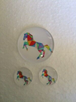 Set of 1x 25mm, 2 x 12mm Glass Dome Cabochons - Horse