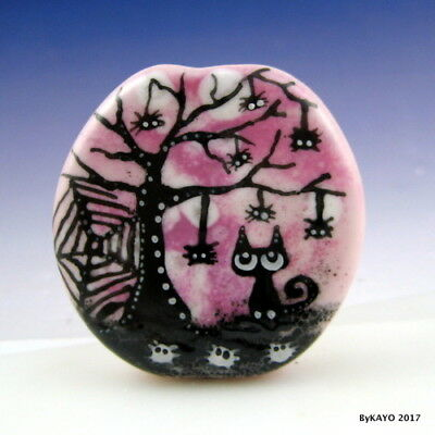 """ALONG CAME A SPIDER (or 12"" byKAYO a Handmade CAT Lampwork Art Glass Focal Bead"