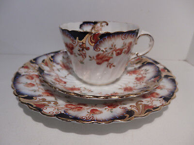 Aynsley Cup Saucer Plate Imari Colours Roses Shells Molded Swirl 11406 c1920