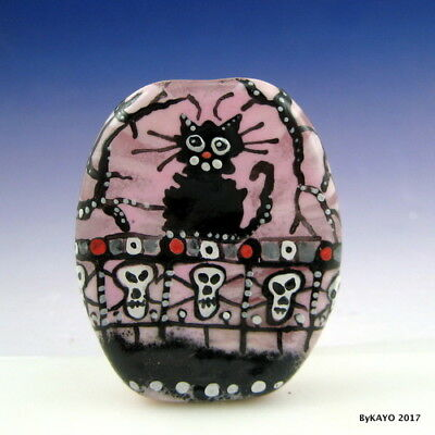 """BEWARE---WATCH CAT !"" byKAYO a Handmade Lampwork Art Glass Focal Bead SRA"