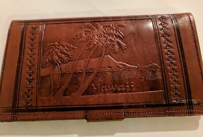 RARE vintage Tooled LEATHER Large Wallet HAWAII Made in Moraocco No Reserve
