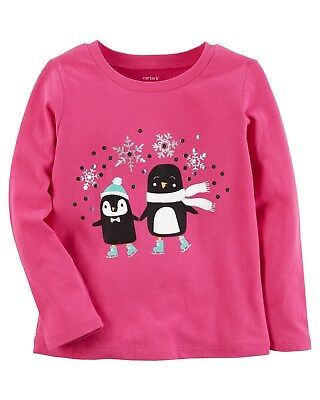 New Carter's Penguins Skating Snowflakes NWT 2t 3t 4t 5t Girls Pink Long Slv Top