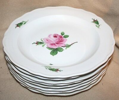 """8 EARLY MEISSEN PINK ROSE SALAD or LUNCHEON PLATES~8 3/8""""~HANDPAINTED PORCELAIN!"""