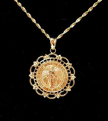 Miraculous Medal 14K White or Yellow Gold 18mm Round Framed Pendant Virgin Mary