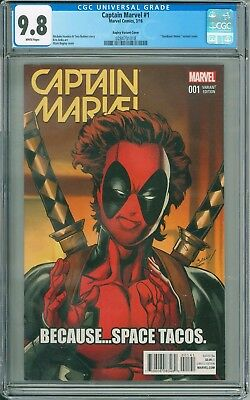 Captain Marvel #1 CGC 9.8 Deadpool meme variant Mark Bagley cover Marvel
