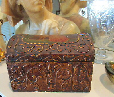 Nice Antique Italian Tole Treasure Chest Wood Jewelry Box W/ Raised Design