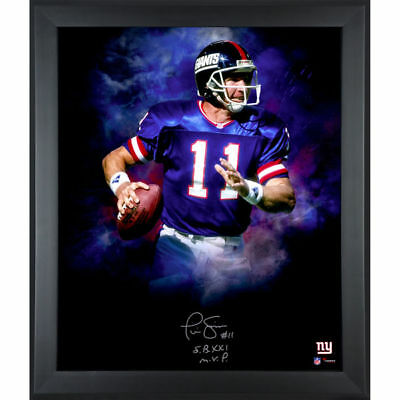 """Phil Simms Framed Autographed/Inscribed 20"""" x 24"""" Photograph, Giants"""