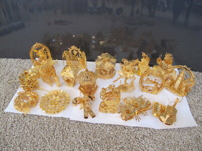 19 pc LOT _ Danbury Mint 23kt Annual~Gold~Ornament~2002-2005 INTRICATE_CHRISTMAS