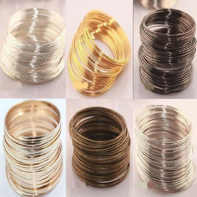 100 Loops Silver/Gold Plated Memory Steel Wire Cuff Bangle Charm Bracelet 60mm