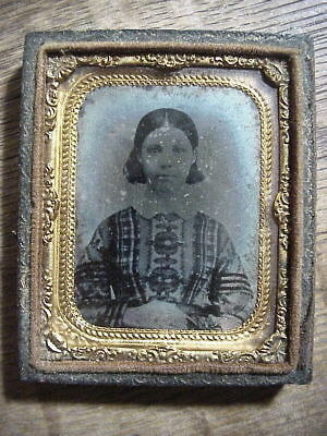 Antique RUBY AMBROTYPE  PHOTO of Young Lady in PLAID DRESS