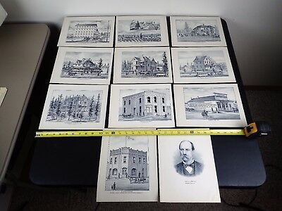 (11) Stone Lithographs Of Spokane Falls Residences Sprague W.t. Echo Roller Mill