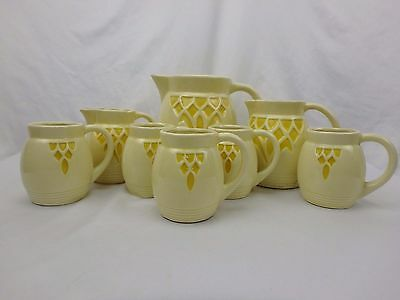 Roseville Robinson Ransbottom Pottery Yellow Stained Glass Lot of 8 Pitcher Mugs