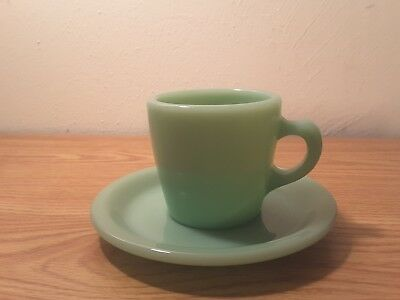 Fire King Jadeite Restaurant Cup and Saucer with Tapered C Handle