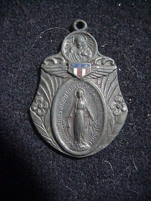 WWII US ARMY AIR CORPS Wings STERLING SILVER Catholic Medal from  Vet's ESTATE