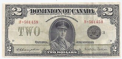 Bank of Canada 1923 two 2 dollar bill T561459 Campbell & Sellar - black seal 3