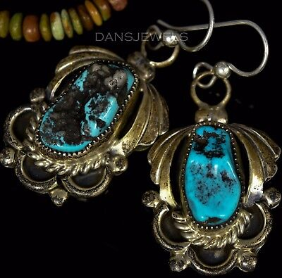 OLD Pawn Vintage OLD Blue NUGGET Turquoise Dangle Post Sterling Earrings