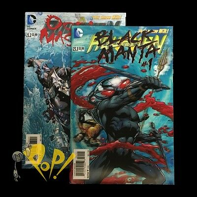 AQUAMAN #23.1 23.2 Lenticular 3D SET New 52 DC Ocean MASTER Black MANTA NM!