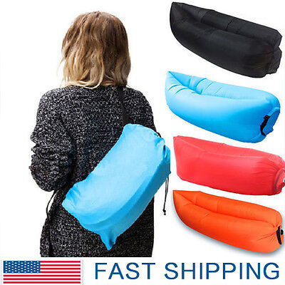 Inflatable Air Sofa Bed Lazy Sleeping Camping Bag Beach Hangout Couch Windbed  B