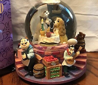 "DISNEY Lady and the Tramp Musical Snow Globe ""Bella Notte"" Retired"