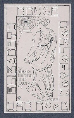 Ex Libris Bookplates for Elizabeth Bruce Roelofson by A.W. Clark 1900