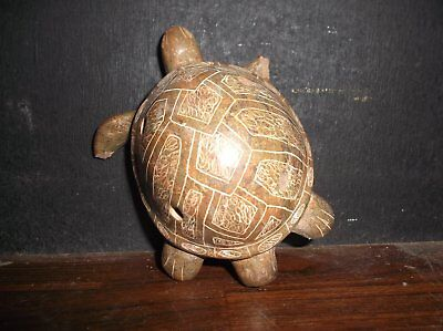 Antique Latin  American Pottery Turtle Effigy Whistle Old Folk Art Pottery 1950s