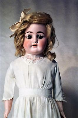 "Antique German Heubach Bisque Dolly Face Doll 23"" w Antique Dress"