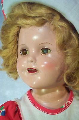 Antique Composition Shirley Temple Doll w Cute Outfit Orig, Wig Nice Condition