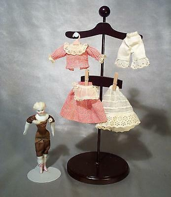 HTF Tiny Antique Doll Dress Outfit and China Doll or Dollhouse Miniature Doll