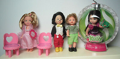 2 Kelly Dolls + Mickey & Tommy + 2 Pink Chairs - Mattel Barbie Family Dolls