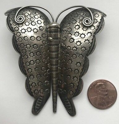 Large NAVAJO STAMPED SILVER BUTTERFLY PIN, c. 1920-30s