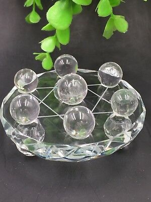 Natural clear Quartz Crystal healing Reiki Ball with a plate 7 Star Array*4489