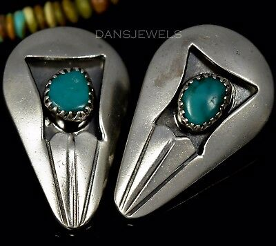 Old Pawn Vintage Navajo Rustic TURQUOISE Sterling CLIP ON Earrings