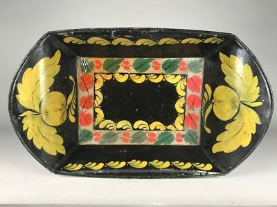 Antique PENNSYLVANIA PAINT DECORTATED TIN TRAY, c. 1820-40