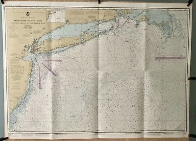 Vintage Nautical Chart:12300 Approaches To New York Nantucket Shoals