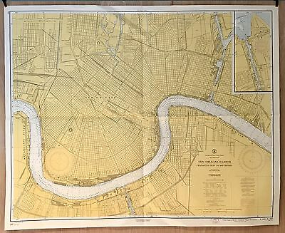Vintage Nautical Chart: New Orleans Harbor 1964 U.S. Navy Hydrographic Folded