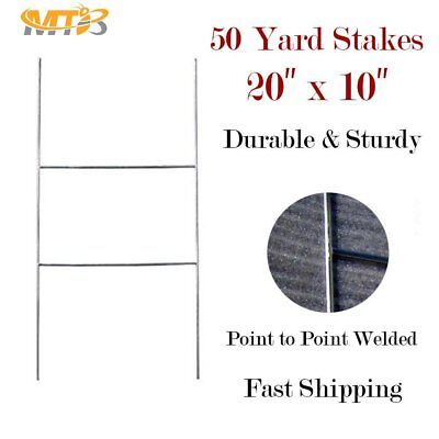 "MTB H Frame Wire Stakes 20""x10"" 9ga wire Pack of 50 - Yard Sign Stakes Holder"