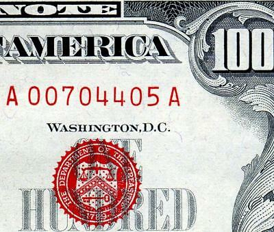 HGR 1966 $100 U.S. Note ((RED Seal)) Appears Near UNCIRCULATED