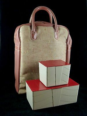 Vintage Tall Zippered PICNIC SET Vinyl Fabric with 2 food containers ~1950s
