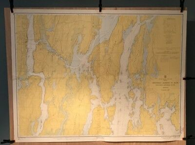 Vintage Nautical Chart: 230 Boothbay Harbor To Bath 1963 US Navy Hydrographic