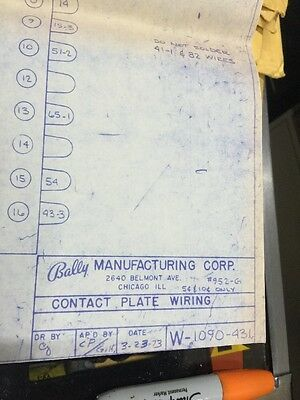 Bally Manufacturing #952-G Contact Plate Wiring