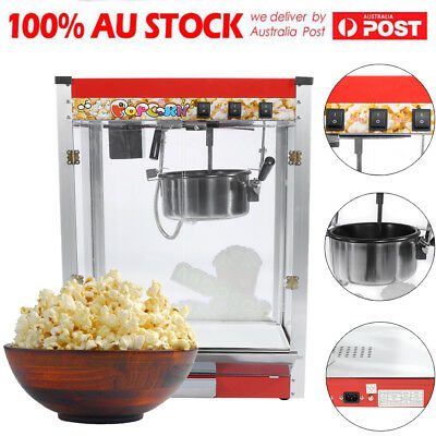 8oz Stainless Commercial Popcorn Pop Corn Maker Popcorn Machine Cooker 1440W