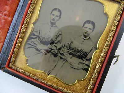 Antique Daguerreotype Union Case Photograph Tintype Creepy Twin Girls Vintage