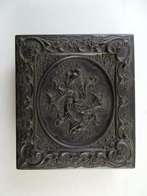 Antique Daguerreotype Union Case Photograph Black Vtg Copper Bezel Cornucopia