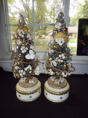 """Pair Vintage Decorated Musical Bottle Brush Trees 16"""" Tall Play Silent Night"""