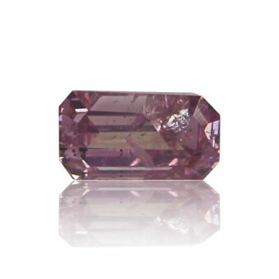 Pink Natural Diamond 0 .10 Ct Fancy Color GIA Certified Emerald Cut Real