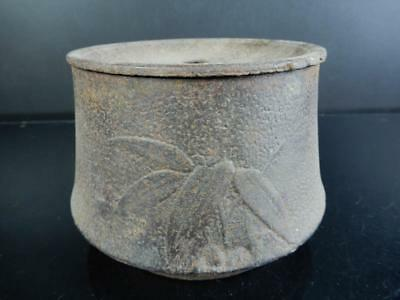 H8089:Japanese Old Iron Bamboo sculpture WASTE-WATER POT Kensui Tea Ceremony
