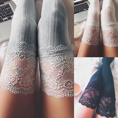 UK Ladies Knit Lace Cotton Over Knee Thigh Stockings High Socks Pantyhose Tights