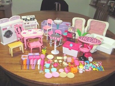 Vintage Lot 138 Barbie Furniture & Accessories~Stove Washer Dryer Couch & More
